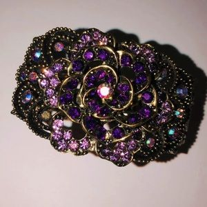 Purple Pink Large Crystal Flower Bangle